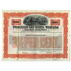 Princeton and North Western Railway Co., ca.1890-1900 Specimen Bond