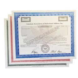 Sports Related Specimen Stock Certificate Trio, ca.1965-1990