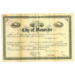 City of Worcester, ca.1900-1920 Specimen Bond
