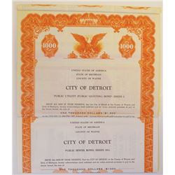 City of Detroit Pair of Specimen Bonds, ca.1950