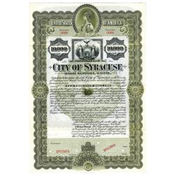 City of Syracuse, 1900 Specimen Bond