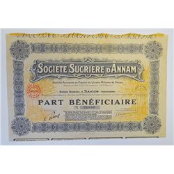 Societe Sucriere D'Annam, 1929 Issued Stock Certificate