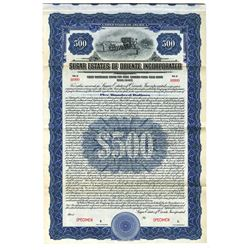 Sugar Estates of Oriente, Inc., 1922 Specimen Bond