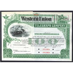 Western Union Telegraph Co., ca.1900 Specimen Stock Certificate, Design by International BNC.