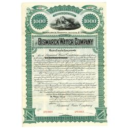 Bismarck Water Co., 1887 Specimen Bond