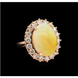 11.83 ctw Opal and Diamond Ring - 14KT Rose Gold
