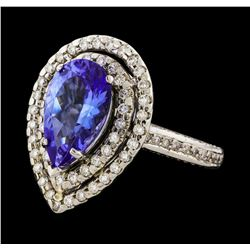 3.12 ctw Tanzanite and Diamond Ring - 14KT White Gold