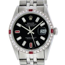 Rolex Mens SS Black Baguette Diamond And Ruby Datejust Wristwatch