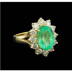 4.78 ctw Emerald and Diamond Ring - 14KT Yellow Gold