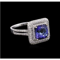 2.73 ctw Tanzanite and Diamond Ring - 14KT White Gold