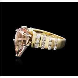 14KT Yellow and White Gold 3.18 ctw Morganite and Diamond Ring