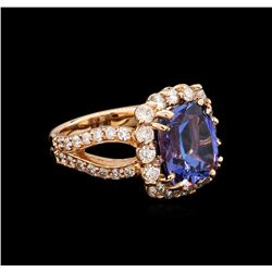 6.12 ctw Tanzanite and Diamond Ring - 14KT Rose Gold