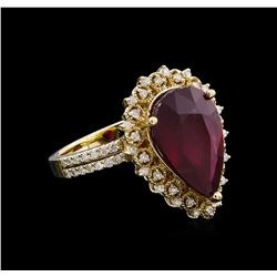 7.30 ctw Ruby and Diamond Ring - 14KT Yellow Gold