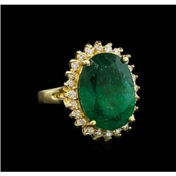 14KT Yellow Gold 9.11 ctw Emerald and Diamond Ring