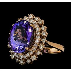 10.55 ctw Tanzanite and Diamond Ring - 14KT Rose Gold
