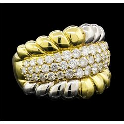 Diamond Ring - 18KT Yellow Gold and Platinum