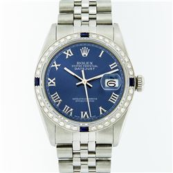 Rolex Stainless Steel Roman and Sapphire Diamond DateJust Men's Watch