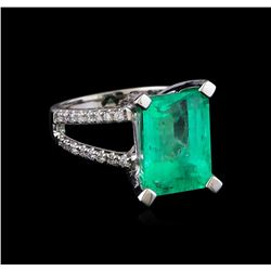 8.78 ctw Emerald and Diamond Ring - 14KT White Gold