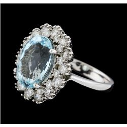6.86 ctw Aquamarine and Diamond Ring - 14KT White Gold