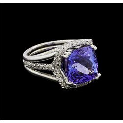 7.71 ctw Tanzanite and Diamond Ring - 14KT White Gold