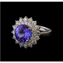 4.85 ctw Tanzanite and Diamond Ring - 14KT White Gold