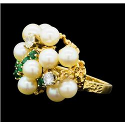 0.65 ctw Diamond, Emerald and Pearl Ring - 14KT Yellow Gold