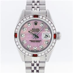 Rolex Stainless Steel Pink MOP Diamond and Ruby DateJust Ladies Watch
