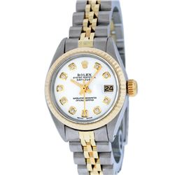 Rolex Ladies Two Tone Mother Of Pearl Diamond Datejust Wristwatch