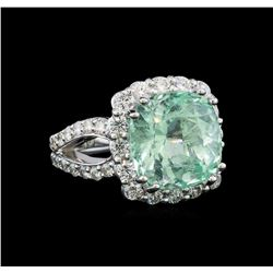 GIA Cert 8.39 ctw Emerald and Diamond Ring - 14KT White Gold