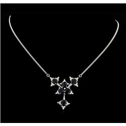 6.48 ctw Sapphire and Diamond Necklace - 14KT White Gold