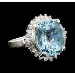 9.66 ctw Aquamarine and Diamond Ring - Platinum