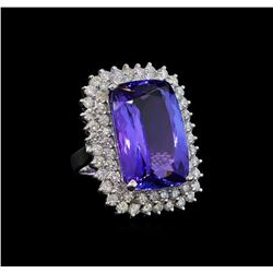 GIA Cert 26.67 ctw Tanzanite and Diamond Ring - 14KT White Gold