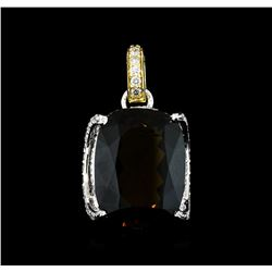 19.48 ctw Golden Tourmaline and Diamond Pendant - 14KT White and Yellow Gold