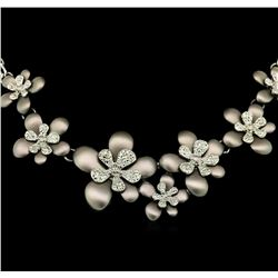 Flower Hand Painted Necklace - Rhodium Plated