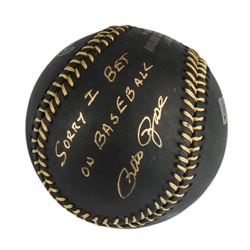 "Autographed Pete Rose ""I'm Sorry"" Black Baseball"