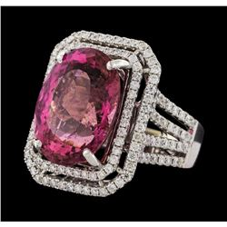 16.15 ctw Pink Tourmaline and Diamond Ring - 14KT White Gold