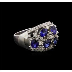 14KT White Gold 2.34 ctw Sapphire and Diamond Ring