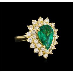 14KT Yellow Gold 2.27 ctw Emerald and Diamond Ring
