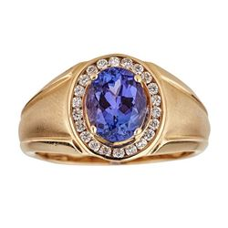 2.81 ctw Tanzanite and Diamond Ring - 14KT Yellow Gold