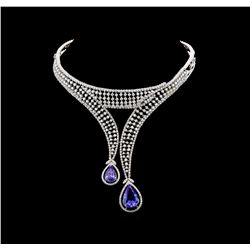 GIA Cert 33.80 ctw Tanzanite and Diamond Jewelry Suite - 14-18KT White Gold