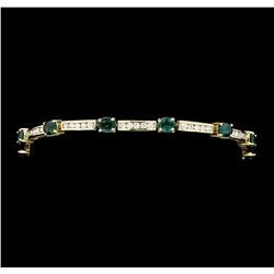 4.33 ctw Alexandrite And Diamond Bracelet - 14KT Yellow Gold