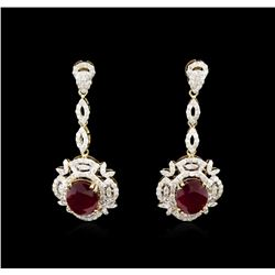 7.88 ctw Ruby and Diamond Earrings - 14KT Yellow Gold