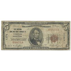 1929 $5 First National Bank and Trust Company Note of Easton PA