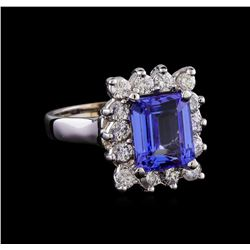 4.24 ctw Tanzanite and Diamond Ring - 14KT White Gold