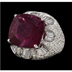17.68 ctw Pink Tourmaline and Diamond Ring - 18KT White Gold