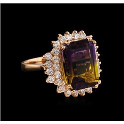 6.81 ctw Ametrine and Diamond Ring - 14KT Rose Gold