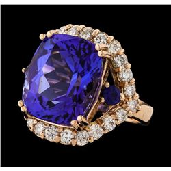 15.50 ctw Tanzanite, Sapphire and Diamond Ring - 14KT Rose Gold