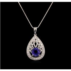 14KT White Gold 1.88 ctw Tanzanite and Diamond Pendant With Chain