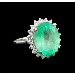 GIA Cert 11.24 ctw Emerald and Diamond Ring - 14KT White Gold