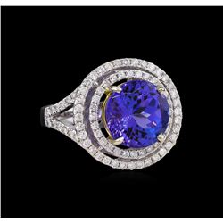 14KT Two-Tone Gold 6.30 ctw Tanzanite and Diamond Ring